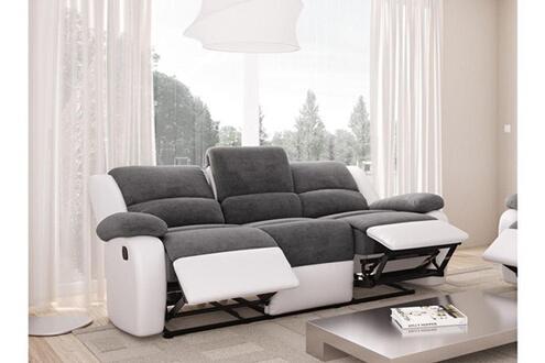 UsineStreet Canap Relaxation Detente 3 Places Microfibre Grise Simili Cuir Blanc
