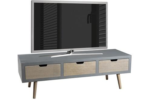 Comforium Meuble Tv 3 Tiroirs Design Scandinave En Bois Massif Pin