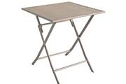 Pegane Table de jardin en aluminium carré coloris taupe mat - dim : 70 x 70 x 72cm -pegane-