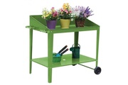 AUCUNE Pot de fleur en métal - carré potager sur pieds - 90x55x90cm - vert
