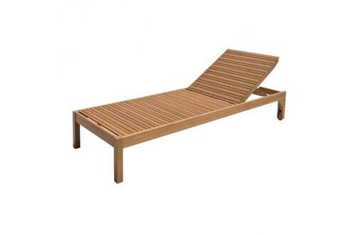 AUCUNE Chaise longue de jardin réglable en bois d`eucalyptus ...