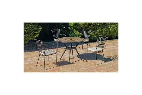 Hevea Jardin Ensemble leis10 - 1 table pierre et ardoise ø100 + 4 fauteuils  fer forge et coussins