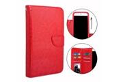 PH26® Etui housse folio pour hp elite x3 format portefeuille en éco-cuir rouge avec double clapet intérieur porte cartes, fermeture magnétique et surpiqures apparentes