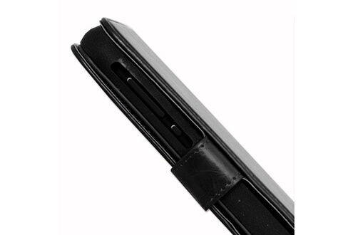 PH26® Etui housse folio pour hp elite x3 format portefeuille en éco-cuir noir avec double clapet intérieur porte cartes, fermeture magnétique et surpiqures apparentes