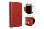 PH26® Etui housse folio pour acer liquid z530 format portefeuille en éco-cuir marron avec double clapet intérieur porte cartes, fermeture magnétique et surpiqures apparentes