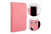 PH26® Etui housse folio pour hp elite x3 format portefeuille en éco-cuir rose avec double clapet intérieur porte cartes, fermeture magnétique et surpiqures apparentes