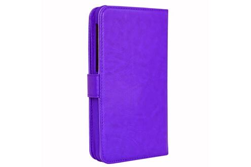 PH26® Etui housse folio pour acer liquid jade plus format portefeuille en éco-cuir violet avec double clapet intérieur porte cartes, fermeture magnétique et surpiqures apparentes