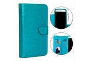 PH26® Etui housse folio pour hp elite x3 format portefeuille en éco-cuir turquoise avec double clapet intérieur porte cartes, fermeture magnétique et surpiqures apparentes