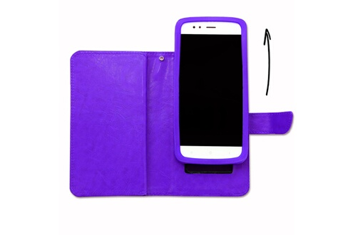 PH26® Etui housse folio pour acer liquid z6 format portefeuille en éco-cuir violet avec double clapet intérieur porte cartes, fermeture magnétique et surpiqures apparentes