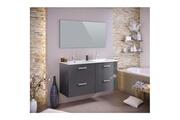 AUCUNE Stella ensemble salle de bain double vasque avec miroir l 120 cm - gris laqué brillant