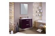 AUCUNE Stella ensemble salle de bain simple vasque avec miroir l 80 cm - aubergine laqué brillant