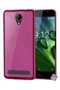 Htdmobiles Housse etui coque pochette silicone gel fine pour acer liquid z6 + verre trempe - rose