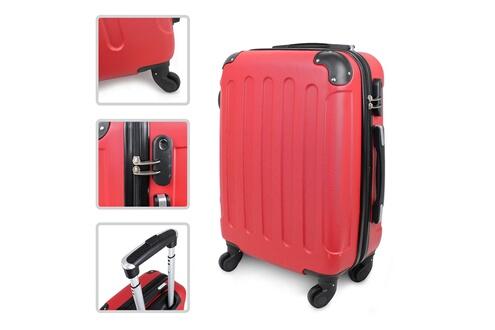 Todeco Valise à main, bagage pour cabine, coins protégés, bagage de cabine 51 cm, rouge, abs, taille (roues incluses): 56 x 38 x 22 cm