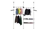 Todeco Organisateur télescopique armoire, support télescopique vêtement, 320 x 200 cm, blanc, matériau: pp, tubes en fer
