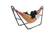 Todeco Hamac, lit suspendu, rouge, avec support type-h, brésilien, coton, capacité: pour 2 personnes