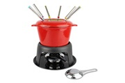 Todeco Service à fondue, caquelon, rouge, matériau: fonte, émail en porcelaine