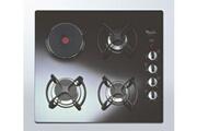Whirlpool Table de cuisson mixte 3 + 1 verre noir whirlpool akm404nb