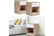Idmarket Lot de 2 tables de chevet bois façon hêtre tiroir blanc