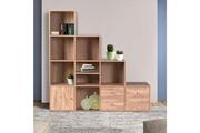 Idmarket Meuble de rangement escalier 4 niveaux bois façon hêtre avec porte et tiroirs