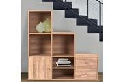 Idmarket Meuble de rangement escalier 3 niveaux bois façon hêtre avec porte et tiroirs