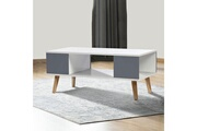 Idmarket Table basse effie scandinave bois blanc et gris