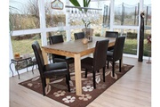 Mendler Lot de 6 chaises de séjour littau, simili-cuir, marron, pieds foncés