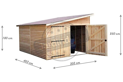 CIHB Garage en bois avec porte double 1 pente kompact 4 m