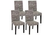 Mendler Lot de 4 chaises de séjour littau, tissu gris words fabric, pieds foncés