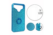 PH26® Hp elite x3 pack coque arrière bleue strass avec bague + 2 verres trempés dureté maximale