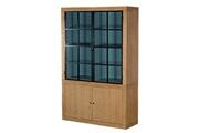 Hellin Meubles Bibliothèque 2 portes vitrées métal - alice