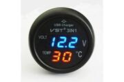 Qumox Qumox voltmètre allume-cigare thermomètre chargeur usb led auto 12-24v