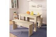 Vidaxl Table de salle à manger et bancs 3 pcs aggloméré chêne