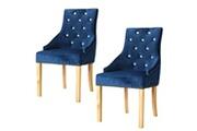 Vidaxl Chaise de salle à manger 2 pcs chêne massif et velours bleu