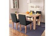 Vidaxl Table et chaises 5 pcs cuir synthétique chêne noir