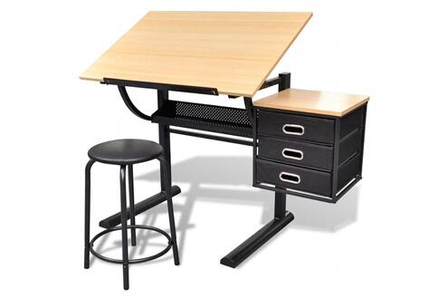 GENERIQUE Tables de travail collection brasilia table à dessin inclinable avec tabouret