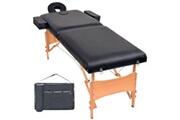 Vidaxl Table de massage pliable à 2 zones 10 cm d'épaisseur noir