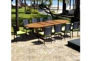 Wood-en-stock Salon de jardin en teck grande taille - 10 chaises résine tressée
