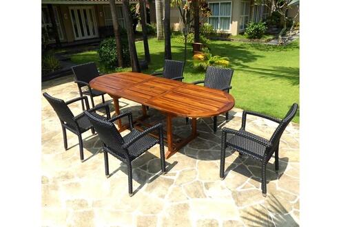 Wood-en-stock Salon de jardin en teck huilé table 240 cm 6 fauteuils ...