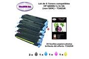 T3azur 5 toners génériques hp q6000a, q6001a, q6002a, q6003a, hp 124a+ 20f papiers photos a6 -t3azur