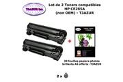 T3azur 2 toners génériques hp 85a, ce285a pour hp laserjet pro m1132 m1212 m1214 m1217 m1232+ 20f papiers photos a6 -t3azur