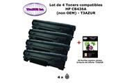 T3azur 4 toners génériques hp cb436a , hp 36a pour imprimante hp laserjet m1120 mfp m1120n+20f papiers photos a6 -t3azur