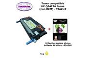 T3azur Toner générique hp q6472a pour hp color laserjet 3600, 3600dn, 3600n jaune + 10f papiers photos a6 -t3azur