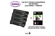 T3azur 4 toners génériques hp hp 85a, ce285a pour hp laserjet pro m1132 m1212 m1214 m1217 m1232+ 20f papiers photos a6 -t3azur