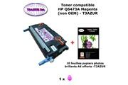 T3azur Toner générique hp q6473a pour hp color laserjet cp 3505 3505dn 3505n magenta + 10f papiers photos a6 -t3azur