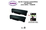 T3azur 2 toners génériques hp cb436a , hp 36a pour imprimante hp m 1120, 1120 mfp, 1120n+20f papiers photos a6 -t3azur