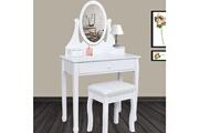Probache Coiffeuse table de maquillage en bois blanc avec miroir et tabouret
