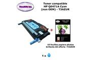 T3azur Toner générique hp q6471a pour hp color laserjet cp 3505 3505dn 3505n cyan + 10f papiers photos a6 -t3azur