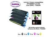 T3azur 4 toners génériques hp q6000a, q6001a, q6002a, q6003a ,hp 124a + 20f papiers photos a6 -t3azur