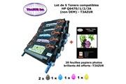 T3azur 4 toners génériques hp 501a, q6470a, q6471a, q6472a, q6473a+ 20f papiers photos a6 -t3azur