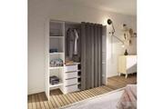 Terre De Nuit Dressing extensible en bois blanc rideau taupe - dr6017
